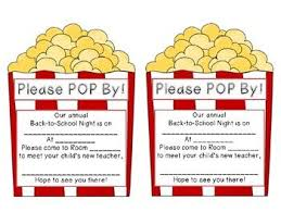 Back To School Invitation Template Back To School Night Parent Communication Notes Popcorn Themed