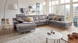 Interliving Sofa Serie 4050 Wohnlandschaft Graues Longlife Leder Cloudy Grey Chromfüße Stellfläche Ca 368 X 261 C