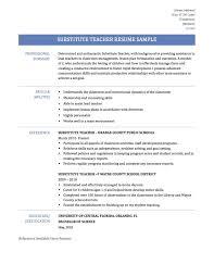 Substitute Teacher Resume Teacher Resume Resume Template First Time
