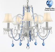 a46 b85 b82 sc 385 5 authentic all crystal chandelier chandeliers lighting with sapphire blue crystal hearts and shades perfect for living room