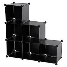 office storage shelves. songmics storage cube organizer diy plastic closet shelf with rubber hammer 6-cube bookcase cabinet black ulpc06h office shelves