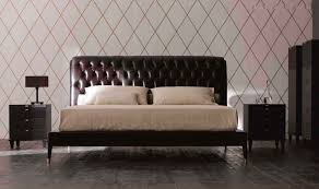 double bed  contemporary  leather  with upholstered headboard