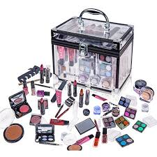 shany carry all trunk professional makeup kit eyeshadow pedicure manicure with black trim clear case