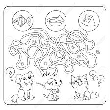 迷路や幼児用迷路ゲームパズルもつれた道ゲームに一致します漫画の動物と好きな食べ物子供のため