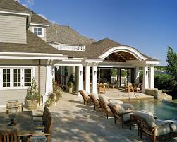 exterior captivating covered outdoor kitchen patio design using l shape kitchen counter plus brick pillars