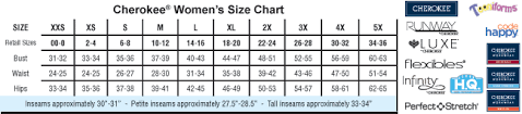 Scrubs And Uniforms Size Charts