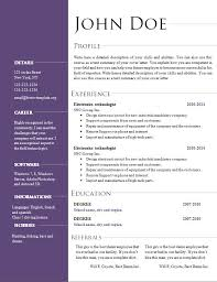 Resume And Cover Letter Resume Templates For Openoffice Sample