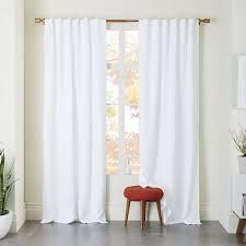 Belgian Flax Linen Curtain - White   west elm