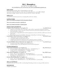 Film Producer Resume Fascinating Production Resume