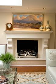 decor above fireplace living room contemporary with crown molding blue and brown