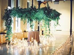 hanging greenery with candles