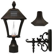 com gama sonic baytown solar outdoor led light fixture pole post wall mount kit black finish gs 106fpw b garden outdoor