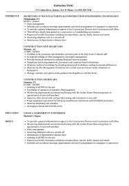 Secretary Resume Construction Sample Breathtaking Templates