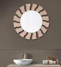 glass round wall mirror in brown colour