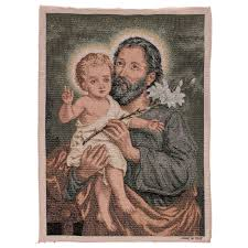 saint joseph and child with lily tapestry 21x15