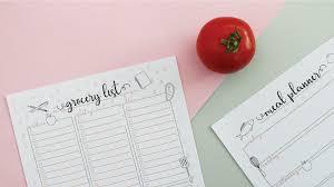 Free Grocery List Menu Planner Printables