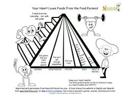 Small Picture Food Pyramid and a Healthy Heart Learning Sheet