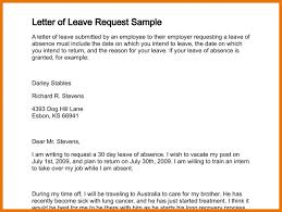 application for leave of absence letter of leave request sample 256 0