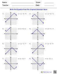 graphing absolute value equations worksheet answers tessshlo