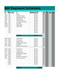 Schedule Layout Excel Excel Bill Payment Schedule Template Schedule
