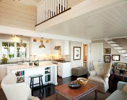 Small Beach Style Open Concept And Formal Dark Wood Floor And Brown Floor Living  Room Idea