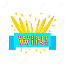 Win Congratulations Sticker With Blue Ribbon Design Template