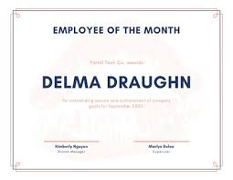 Printable Employee Of The Month Certificates Customize 1 211 Employee Of The Month Certificates