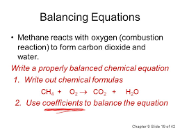 balancing equations methane reacts with oxygen combustion reaction to form carbon dioxide and water