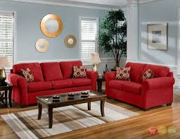Red Living Room Accessories Casual Red Microfiber Sofa Love Seat Living Room Furniture Set