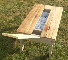 Table With Drink Trough Re Purposed Pallet Secret Beer Cooler Outdoor Coffee Table 101