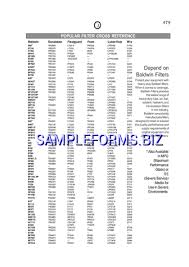 Filter Cross Reference Chart Oil Filter Cross Reference Chart Templates Samples Forms