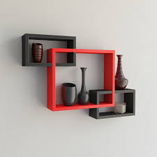 Decorative wall shelving Kids Decorative Wall Racks Black Red For Living Room Decor Decornation Set Of Rectangular Intersecting Floating Wall Shelf Black Red