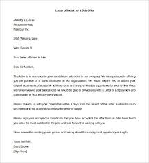 Sample Letter of Intent Template for a Job Offer from Company
