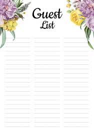 Printable Wedding Guest List Organizer Download Printable Wedding Guest List With Botanical Pattern Pdf