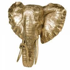 antique gold elephant head wall mount
