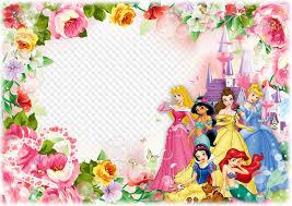 photo frame template for children photo with disney princesses happy birthday princess
