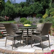 90cm windsor round dining table with 4 stacking armchairs bronze