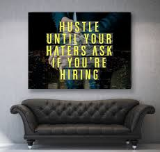 office wall art. Hustle Until Your Haters Canvas Motivational Inspirational Office Wall Art (Wooden Frame Ready To Hang) O