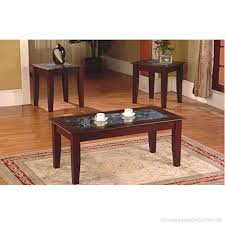 3 piece fax marble top cherry coffee