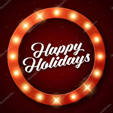 Retro Holidays Happy Holidays Inscription On Retro Banner With Light Bulbs Stock