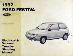 ford festiva factory foldout wiring diagram original 1992 ford festiva original electrical vacuum troubleshooting manual
