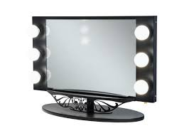 black vanity girl starlet lighted vanity mirror with optic glass and 6 cosmetic light bulbs around