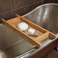 image of wood teak bathtub caddy
