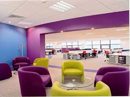 colorful home office. Impressive Colorful Office Design With Cozy Purple Armchair And Round Shape Glass Table Also Blue Wall Color Idea Home