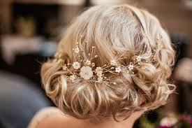 a simple gold spangled fl hair vine by debbie carlise daisy wears a jenny