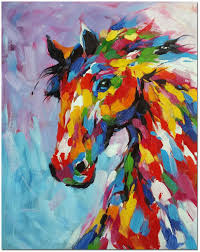 colorful horse oil painting hand painted multi colored horse painting on canvas in impressionist style