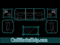 u shaped sofa and coffee table cad blocks
