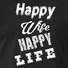 Glückliche Frau Happy Wife Spruch Schriftzug Männer Premium T
