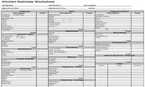 Construction Estimating Template - Kitchen Cost Estimate Worksheet