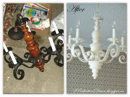 a little spray paint and some time 30mins max and it was transformed into a fabulous shabby chic antique white chandelier
